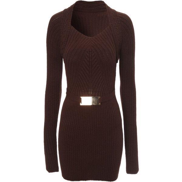 Jane Norman Rib Detail Jumper Dress ($25) ❤ liked on Polyvore featuring dresses, short dresses, dark brown, short brown dress, brown dresses, dark brown dress, jane norman and mini dress