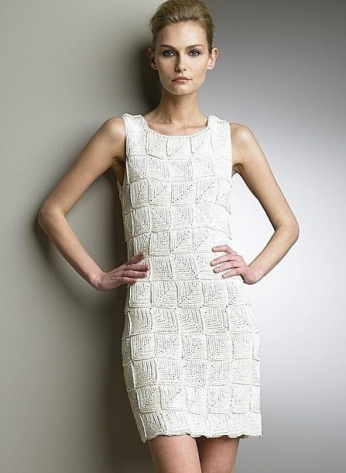 White Square Pattern Dress free crochet graph pattern