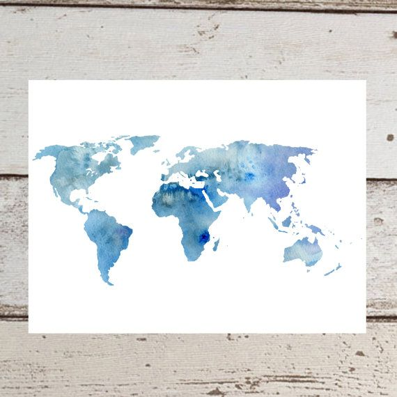 Printable World Map Water Color Print Blue By CatStacher