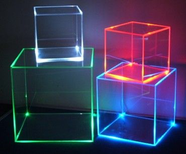 Perspex Boxes -- Edge lighting on milky plexiglass