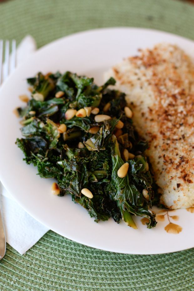 Lemony Sauteed Kale with Pine Nuts | AggiesKitchen.com