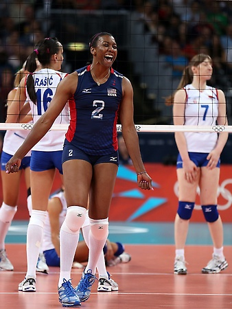 Olympics: USA women's volleyball team sweeps Serbia  Danielle Scott-Arruda #2 of the United States celebrates a point in the second set against Serbia during Women's Volleyball on Day 7 of the London 2012 Olympic Games at Earls Court on August 3, 2012 in London, England. (Photo by Elsa/Getty Images)