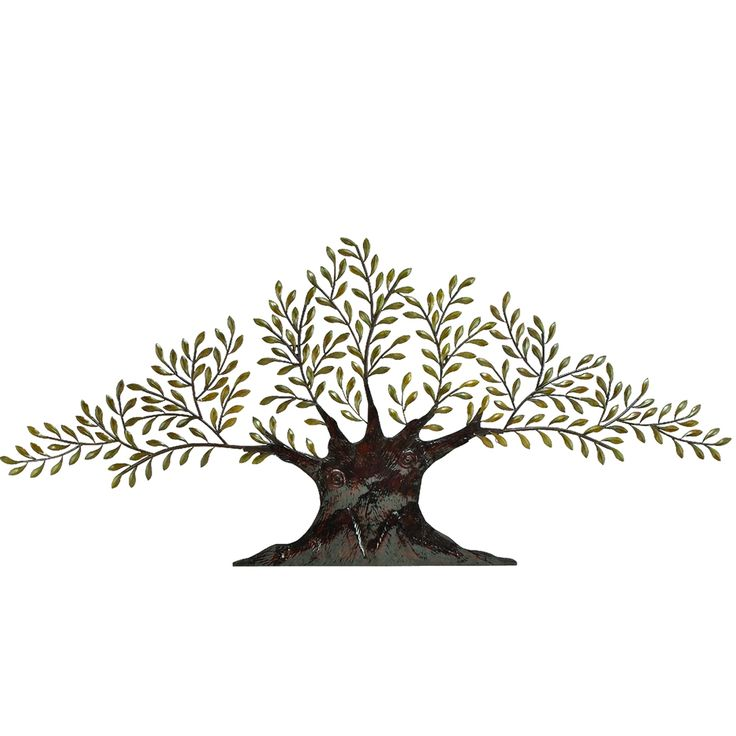 Add an artistic touch to your home by hanging this wall art decor in any room. Constructed with metal to last for years, this modern decoration showcases olive-green leaves complement by bronze-brown accents to give you the perfect focal point.