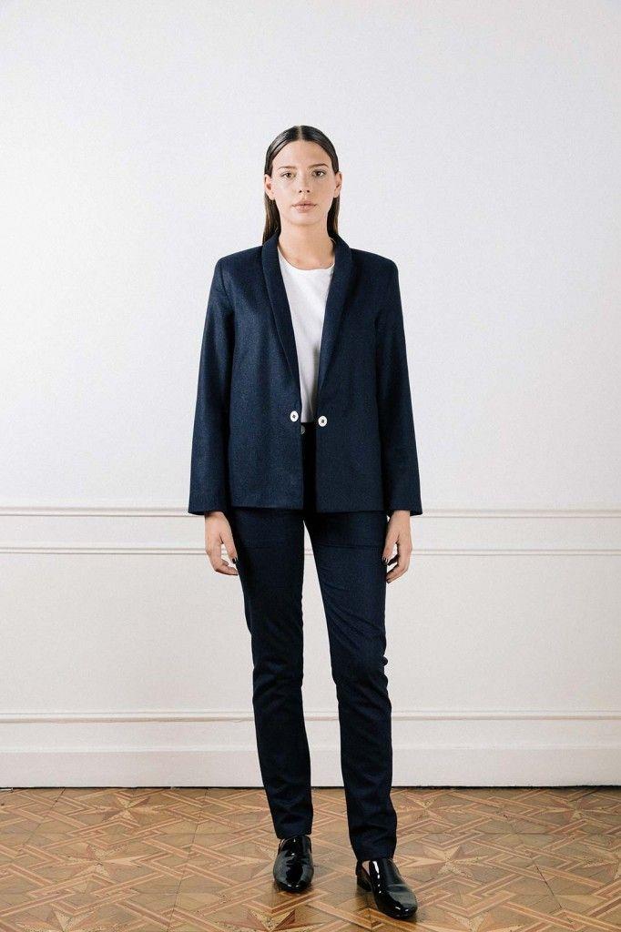 Veste tailleur bleu marine femme en flanelle ATODE - Made in France