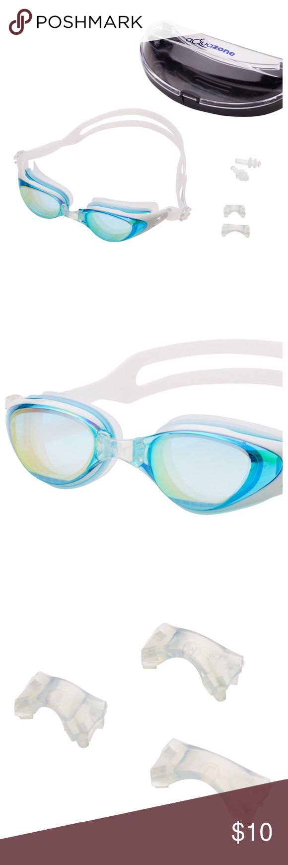 AQUAZONE PRO SWIMMING GOGGLES SET Aquazone Adjustable Swimming Goggles (Lifetime Replacement Guarantee) Premium UV Protection-Shatter Resistant-Anti Fog Swim Goggles. FIT AND COMFORT adjustable goggles feature plastic eye cups with a soft silicone seal around each eye. Every pair comes with small, medium and large nose bridges and an adjustable strap. WATER TIGHT WITH SHATTER RESISTANT MIRRORED LENSES. PROTECTIVE CASE  & EAR PLUGS INCLUDED. ENJOY! Aquazone Accessories Glasses