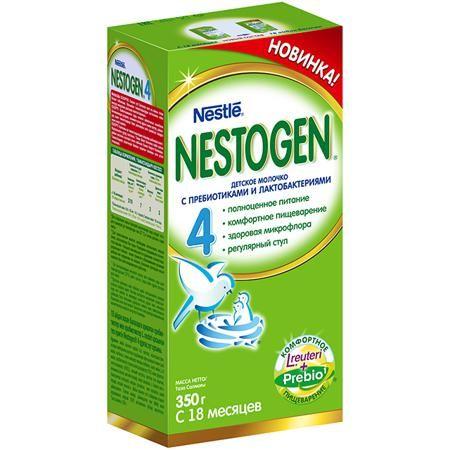 Nestogen 4 Заменитель с 18 мес. 350 г  — 255р. -----------------  Nestogen® 4 (Нестожен 4) Сухое молочко  с пребиотиками и лактобактериями L.reuteri, без пальмового масла, для детей с 18 месяцев, 350 г - Молочко Nestogen® 4 для комфортного пищеварения.  Пищевые волокна Prebio® (пребиотики ГОС/ФОС),входящие в состав молочка, помогают пищеварению и способствуют формированию регулярного мягкого стула.  Молочко  Nestogen® 4 содержит лактобактерии L.reuteri, которые помогают наладить комфортное…