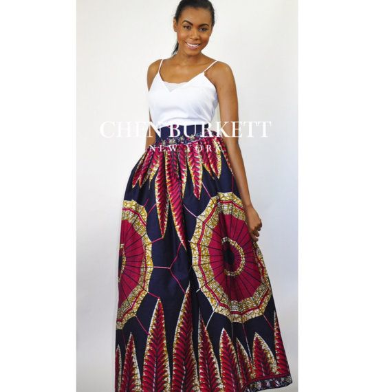 African Print Maxi Skirt Mel Maxi Skirt: Navy and от CHENBURKETTNY