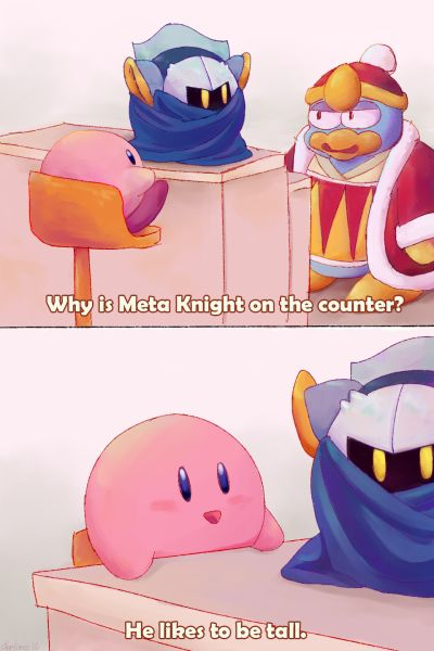 Meta Knight's height complex- http://charlimes.tumblr.com/post/145774185313/meta-knights-height-complex