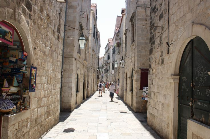 Narrow, medieval streets of Dubrovnik's old town.