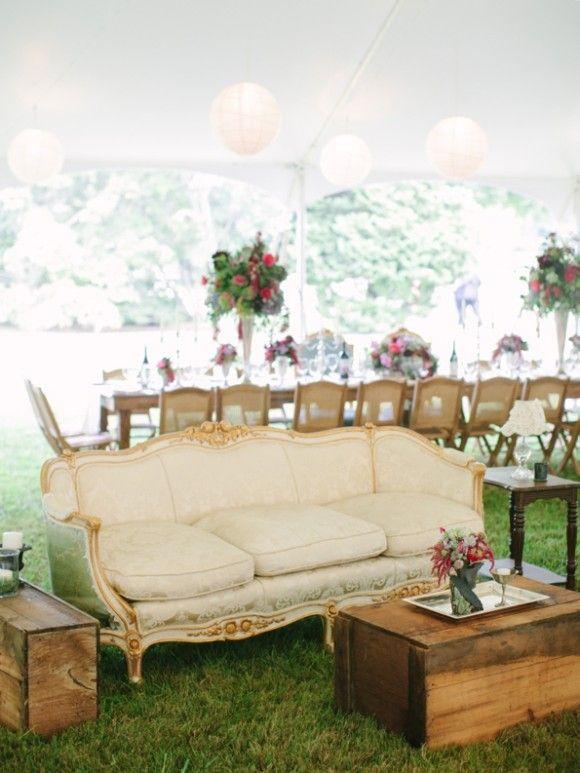 Glenstone Farm wedding - Comfy lounge area under this cute tent