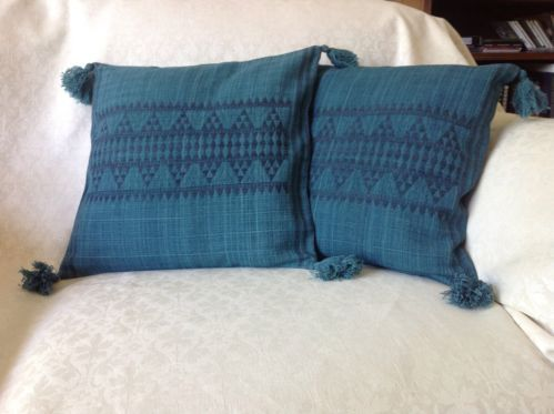 "New 2 Turquoise Blue Jade Designer Cushion covers 100% wool Ethnic 16"" x 16"""