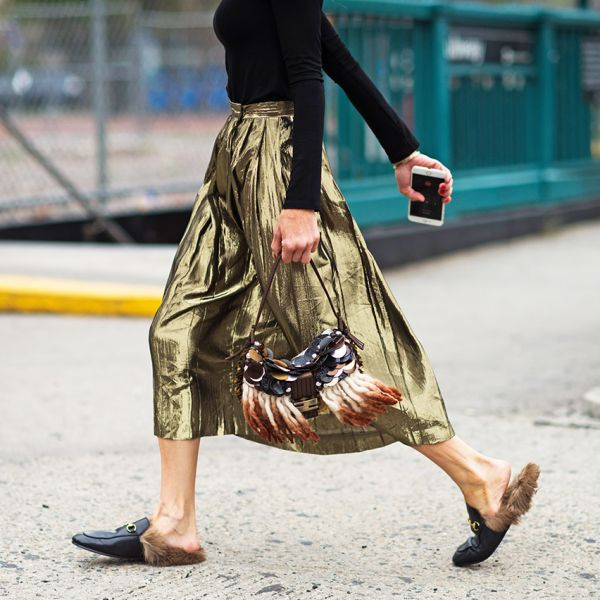 metallic pleated midi skirt and furry loafers