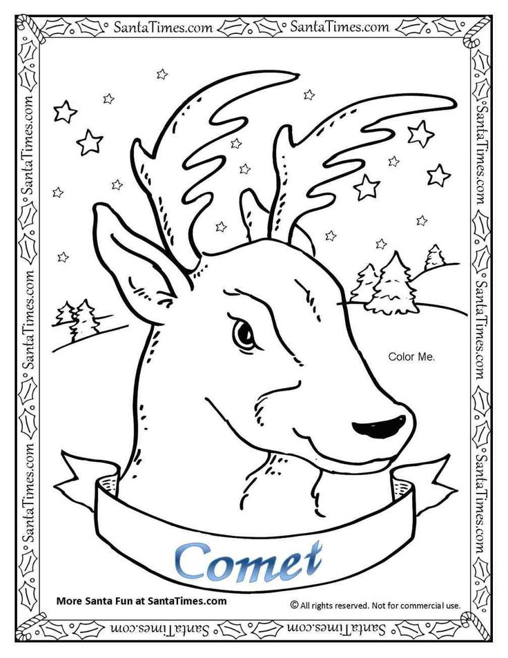 75 best printable christmas coloring and activity pages for Santa reindeer coloring pages