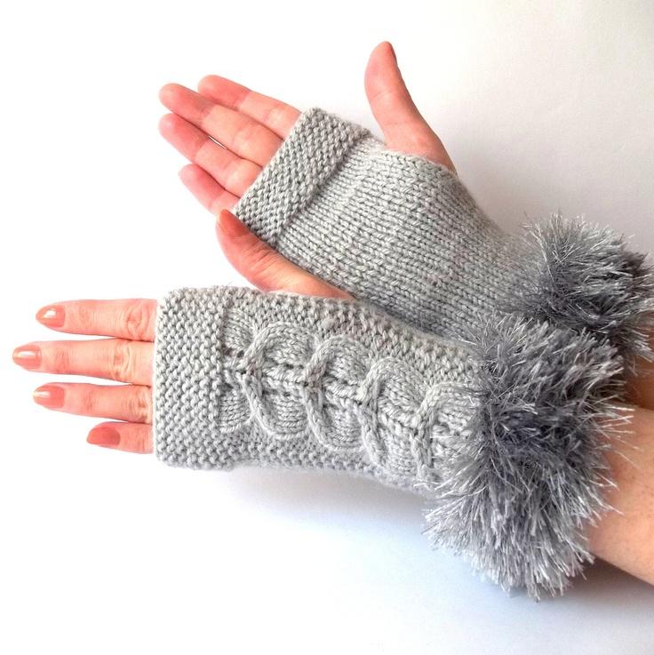 Gray Fingerless Gloves. Knitted Grey Wrist Warmers. Knit Gray Fingerless Mittens. $28.00, via Etsy.