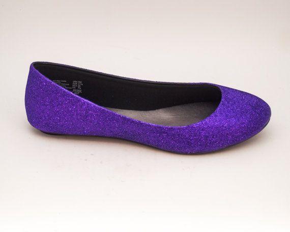Glitter |  Passie paarse Ballet platte Slipper aangepaste schoenen