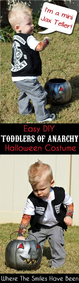 DIY Sons of Anarchy Toddler Halloween Costume: Toddlers of Anarchy Cuteness! I whipped up this easy SOA costume in no time! Now my son is a mini Jax Teller!