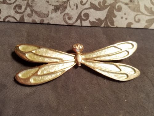 Vintage-Pastelli-Dragonfly-Pin-Brooch-Gold-Tone-w-Lgt-Green-MISSING-TAIL-6