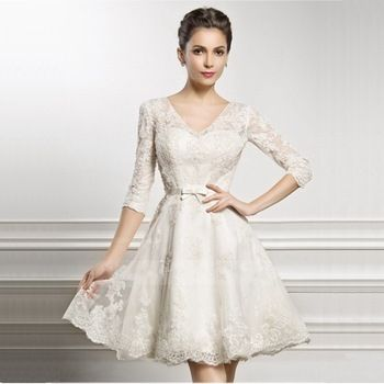 Romantic Sexy 2015 Bride Dresses Casamento A Line V Neck Sleeve Lace Wedding Dress Short Plus Size Vestidos De Noiva Curto Renda