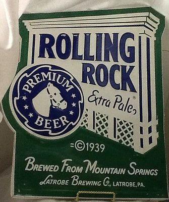 Vintage Metal Sign Rolling Rock Beer Sign Old Alcohol History | eBay