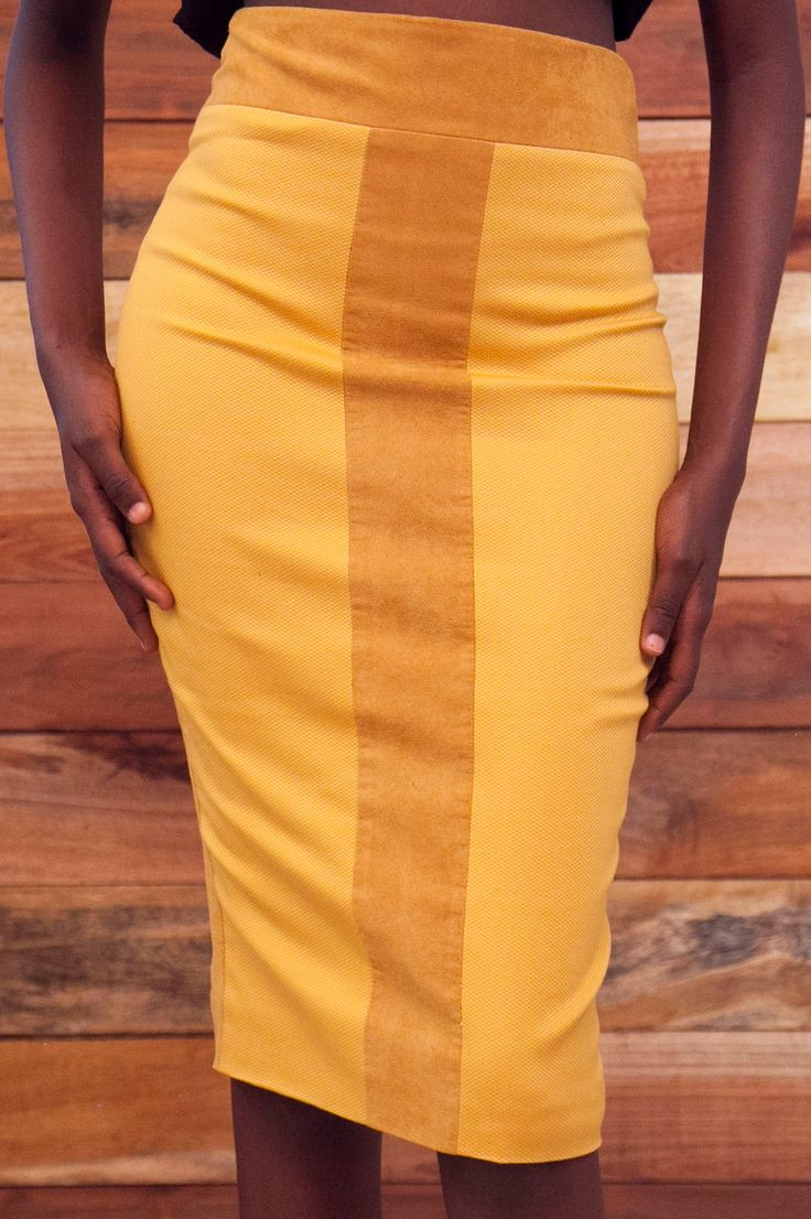 Totally Ethnik Basics Collection, Ready-to-wear Modern African Pencil Skirt, with Suede mud color T-band detail, and Mustard Pique fabric