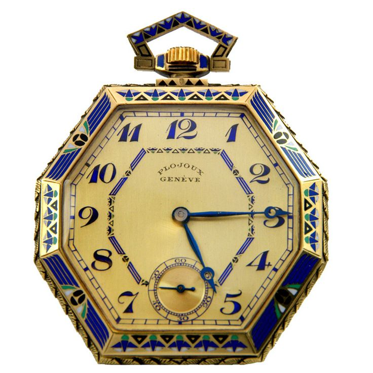 Plojoux Yellow Gold and Enamel Octagonal Dress Pocket Watch   From a unique collection of vintage pocket watches at http://www.1stdibs.com/jewelry/watches/pocket-watches/