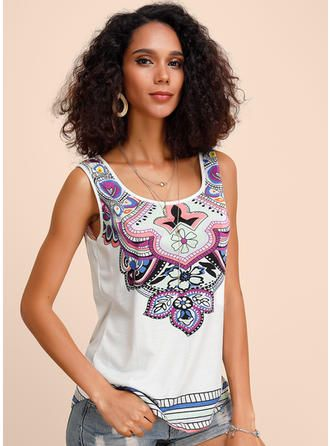 VERYVOGA Print Floral Round Neck Sleeveless Casual…