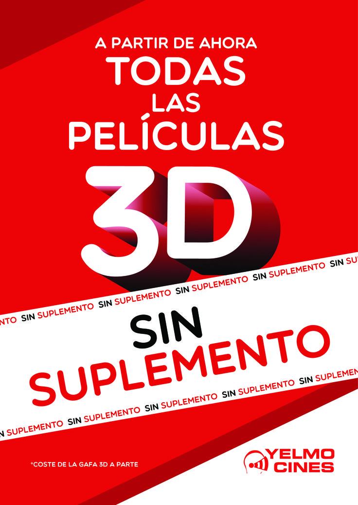 Yelmo Cines Meridiano sigue dando buenas noticias y la de hoy es toda una bomba, ya que han suprimido el complemento para ver las películas 3D, por lo que desde ahora podrás verlas por el mismo precio que las películas en 2D Digital (Coste de las gafas no incluido)