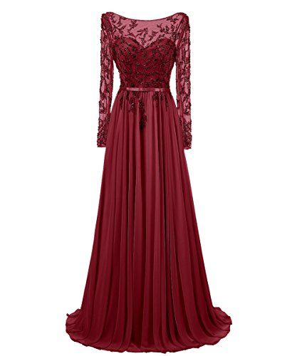 Dresstells Long Prom Dress Jewel Sleeved Chiffon Dress Beaded Evening Gown Burgundy Size 4 * Click image to review more details.