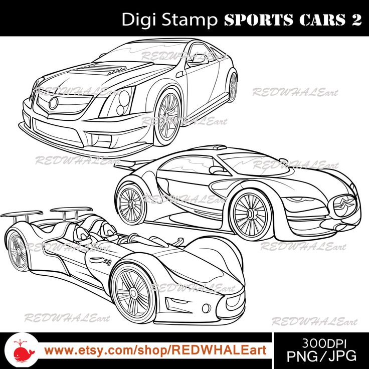 Sports Cars2/ Black & White /Digital Images/ Clipart Elements Set /3 PNG/JPG / For Personal and Commercial use/ Clip Art/ Instant Download by REDWHALEart on Etsy