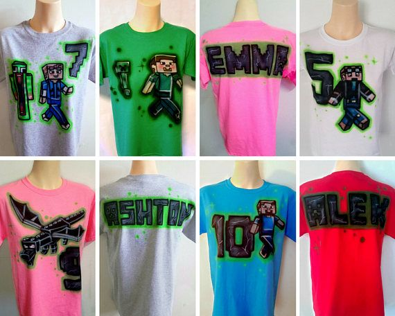 Airbrushed Minecraft shirts, great for a Minecraft Birthday Party!  #Minecraft #Minecraft Birthday #Minecraft Party