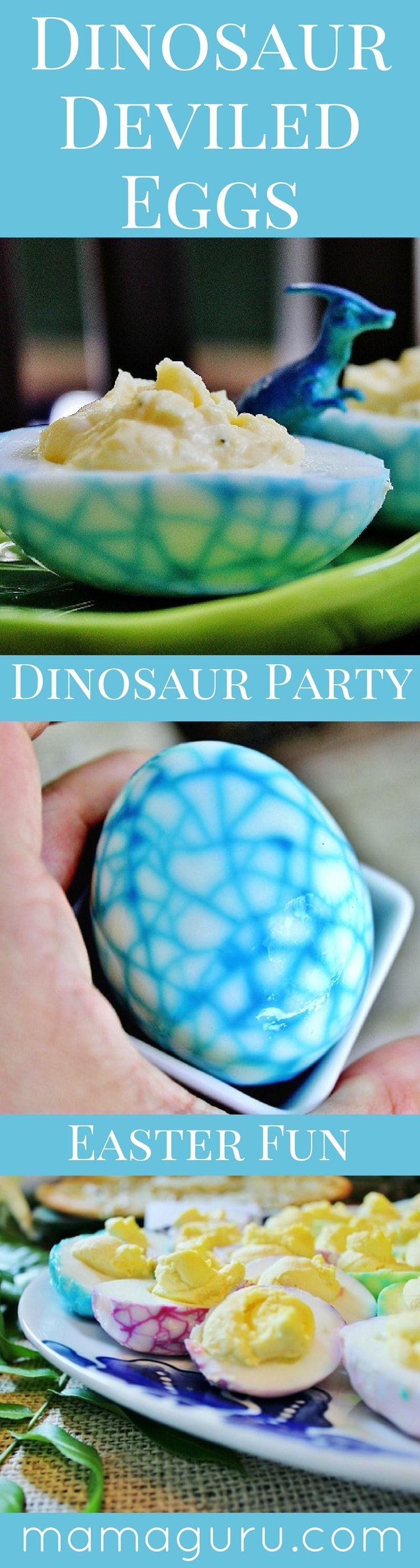 Dinosaur Deviled Egg ♥ Easter Egg ♥ Dinosaur Party ♥ Recipe ♥ Science Fun ♥ Boy Birthday Party