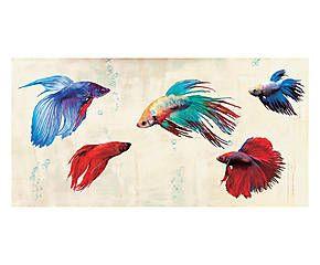 Stampa fine art su canvas con telaio in legno Tropical Parade - 100x50x4 cm