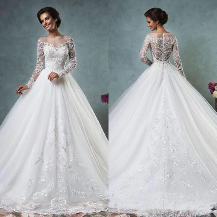 Bruidsjurk prinsessen model van tule met prachtig kant