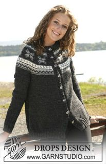 """Knitted DROPS jumper or jacket in 2 threads """"Alpaca"""" with round yoke in multi coloured pattern. Long or short sleeves. Size S - XXXL. ~ DROPS Design"""