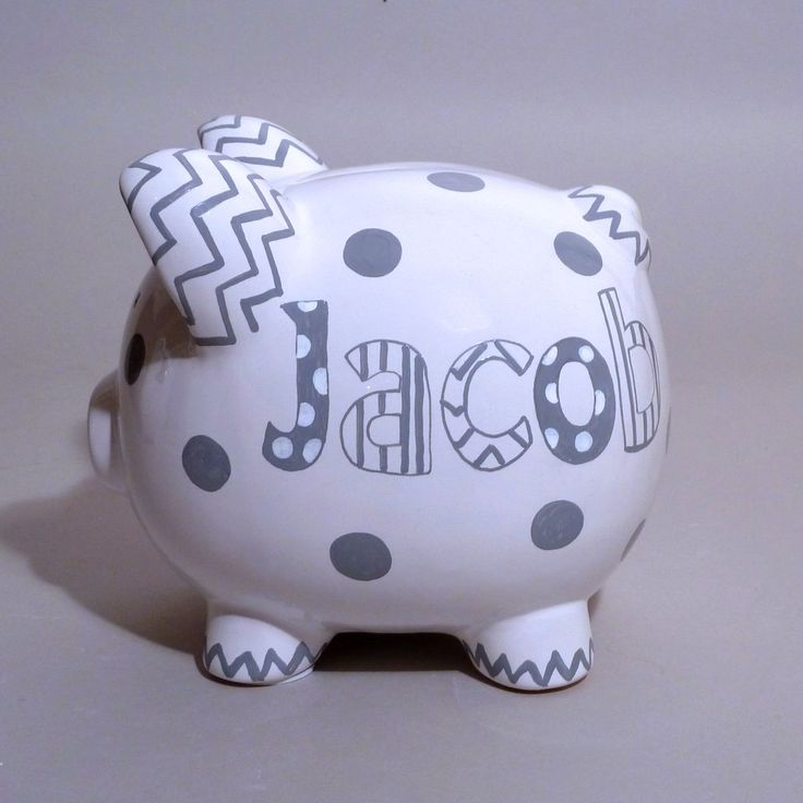 Large Piggy Bank is hand painted with chevron, polka dots, and stripes in your choice of colors.  $49.95.