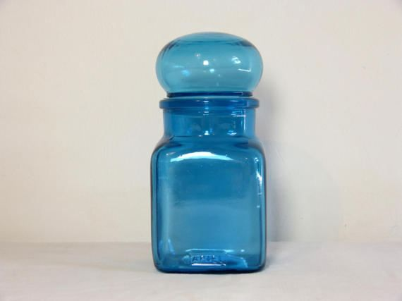 Blue Glass Airtight Bubble Lid ARIEL Apothecary Jar Container   Retro  Kitchen Or Bathroom Storage