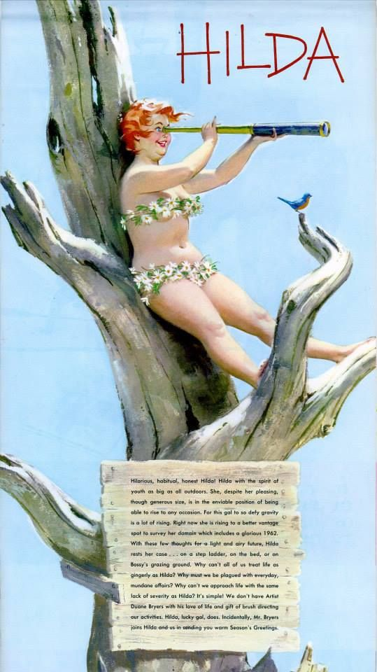 Hilda - sitting up in tree using spyglass