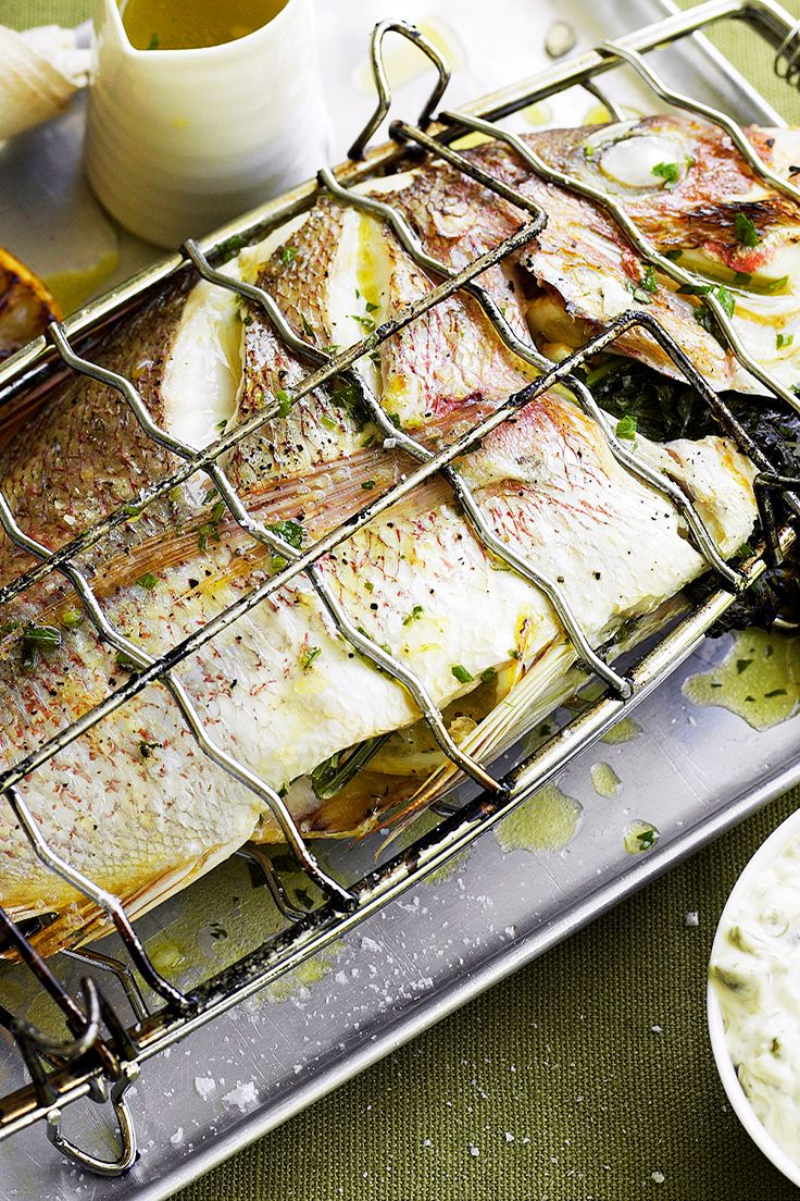 Barbecued whole fish with caper mayonnaise is a beautiful addition to your Australia Day barbecue, and can feed the whole family. Recipe by the Australian Women's Weekly.