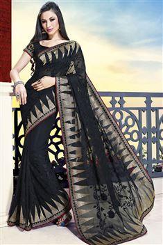 Printed Jai Ho Black Saree