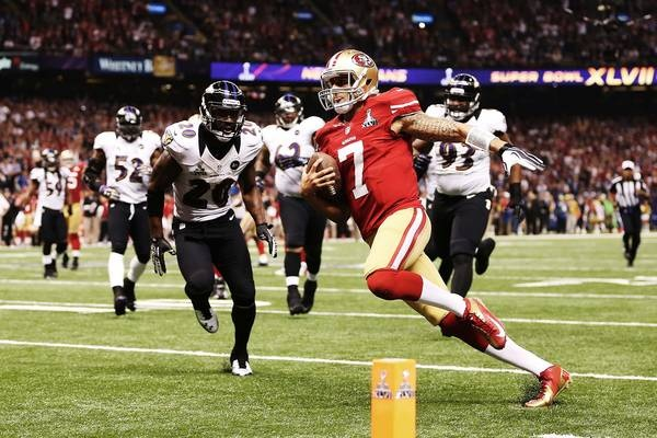 Images from Super Bowl XLVII(87 images)  Updated Feb 4, 2013 3:18 AM ET  What a rush 49ers QB Colin Kaepernick rushes for a 15-yard score in the fourth quarter. It was the longest rushing touchdown by a QB in Super Bowl history.    Christian Petersen - Getty Images