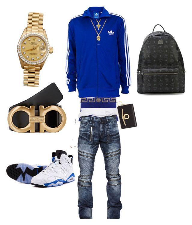""""""" fit of the year"""" by sosababy1201 ❤ liked on Polyvore featuring Versace, Salvatore Ferragamo, Rolex, MCM, men's fashion and menswear"""