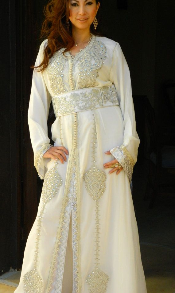Moroccan Luxury White Wedding CaftanRana Style by MaisonMarrakech, $369.99