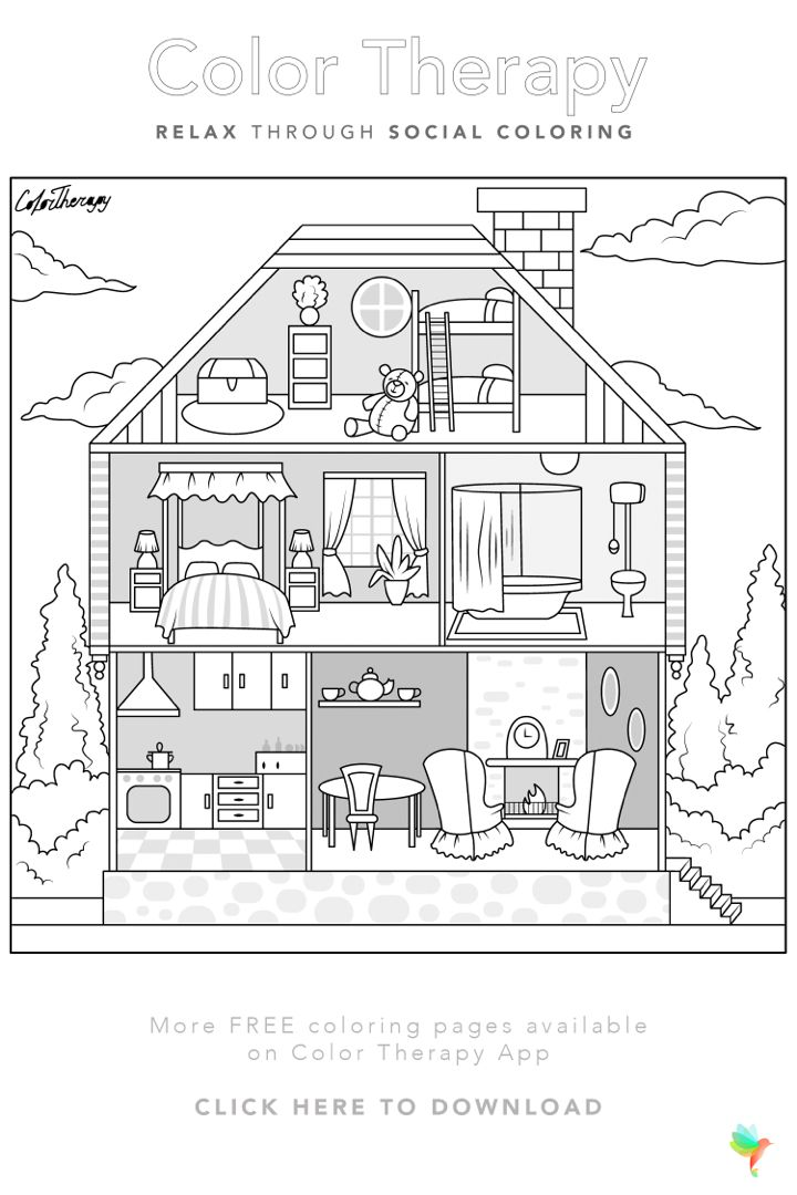 Color Therapy Gift Of The Day Free Coloring Template House Colouring Pages Color Therapy Barbie Coloring Pages