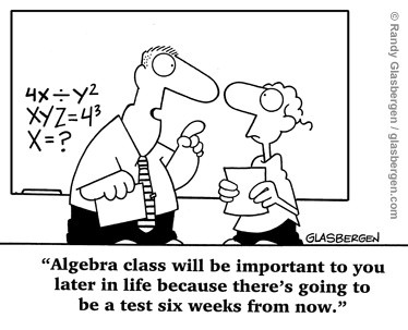 Humor: Why Algebra Will be Important Later in Life!
