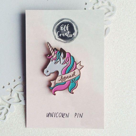 Unicorn Squad Pin badge. Unicorn enamel pin. Squad by elfcreative