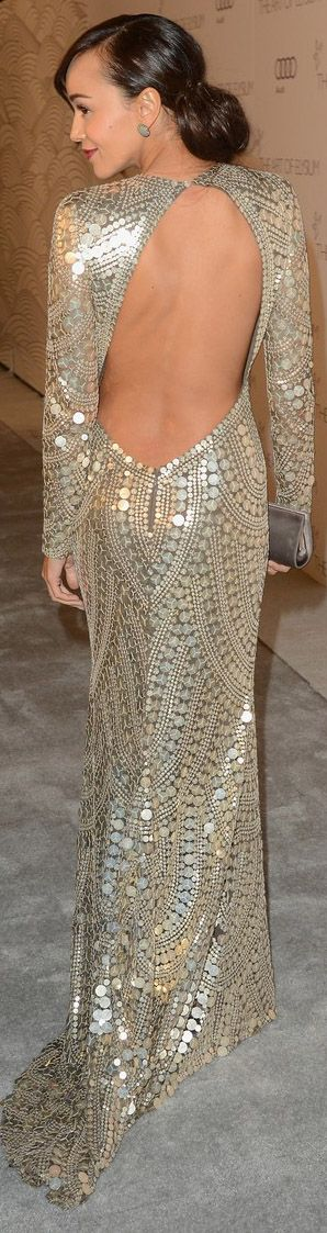 hotness! red carpet fashion long dress #gold #sexy #back http://www.noellesnakedtruth.com/