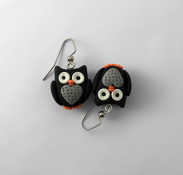 Owl Earrings - Black | by intraordinary