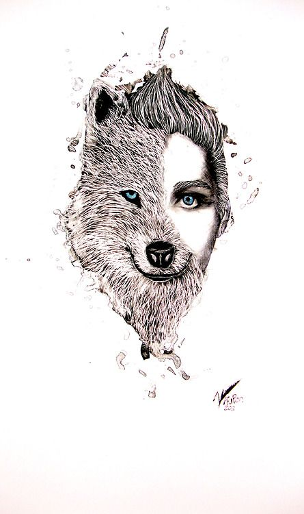 Half Human Half Animal Drawing Half #human, half #wolf