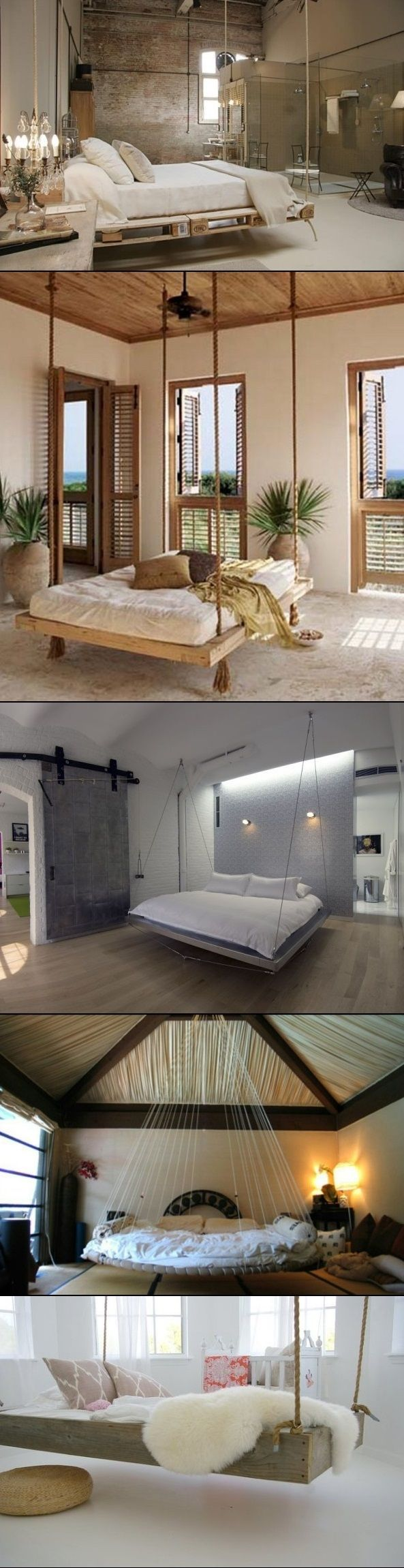 DIY hanging bedroom beds. I really want one of these, But you would have to have a large open bedroom.:
