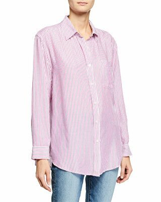 3fc7dddd17 7 for all mankind Designer High-Low Tie Long-Sleeve Button-Front Striped  Shirt